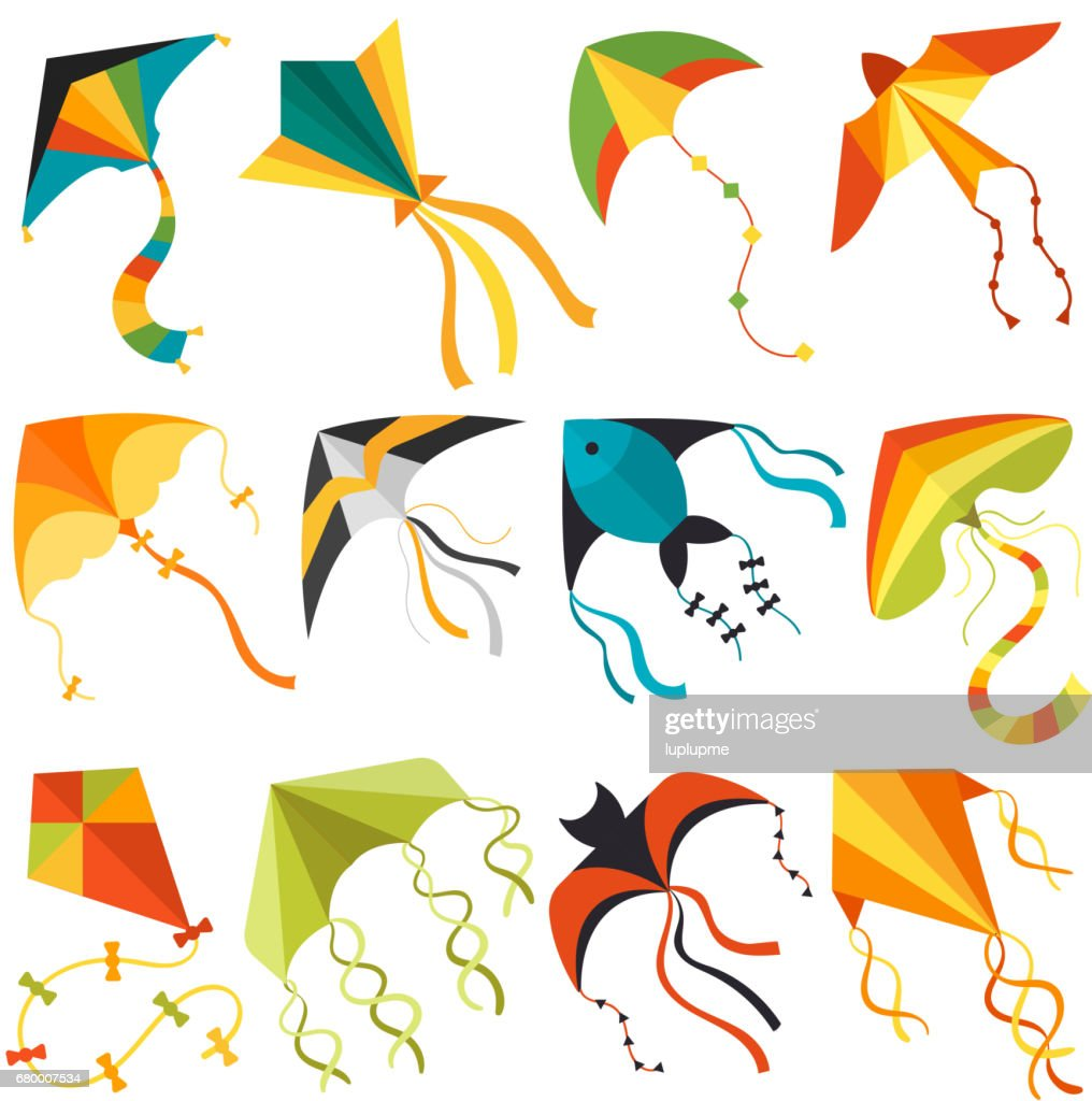 Flying kite wind fun toy fly solated joy vector illustration