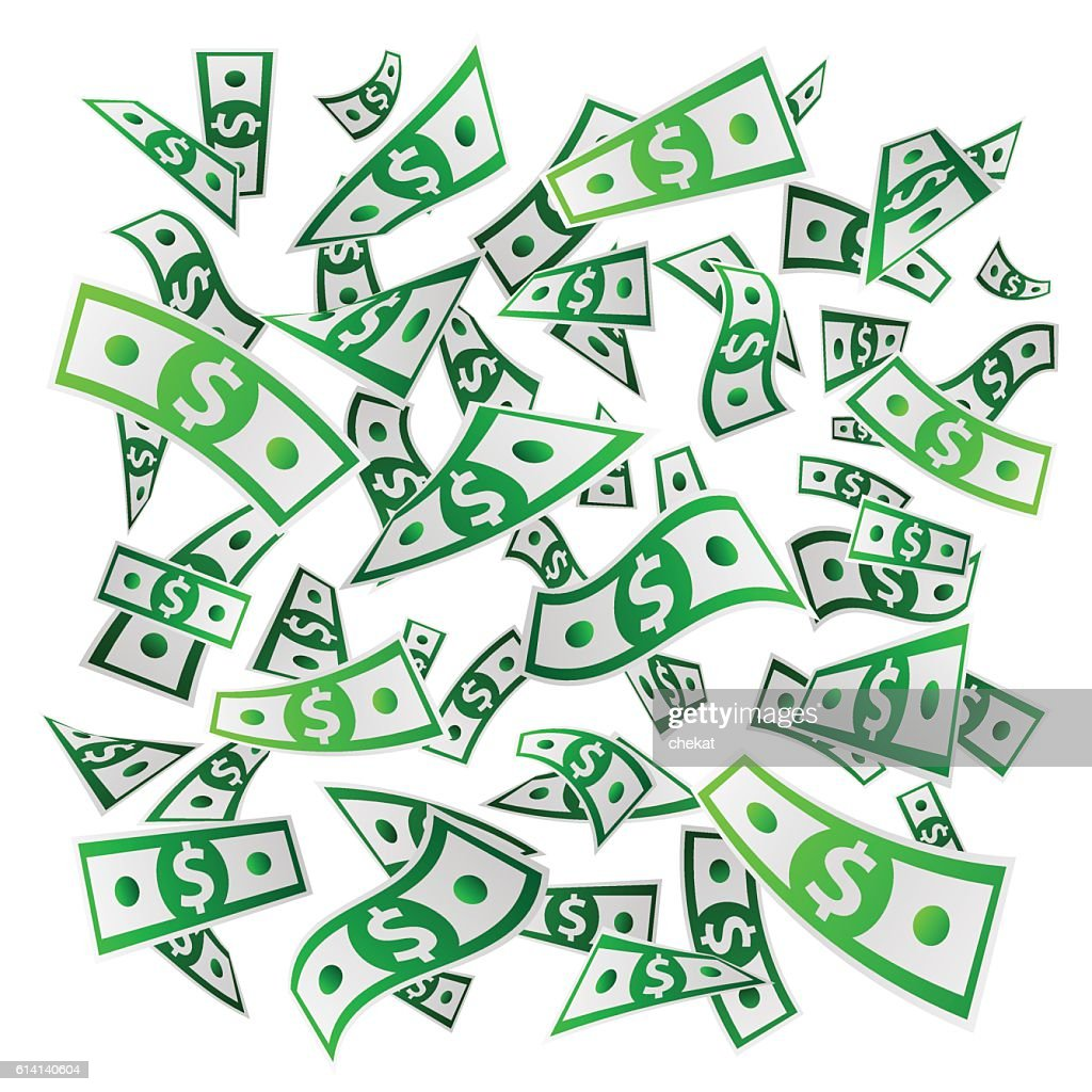 Flying Money. Paper banknotes