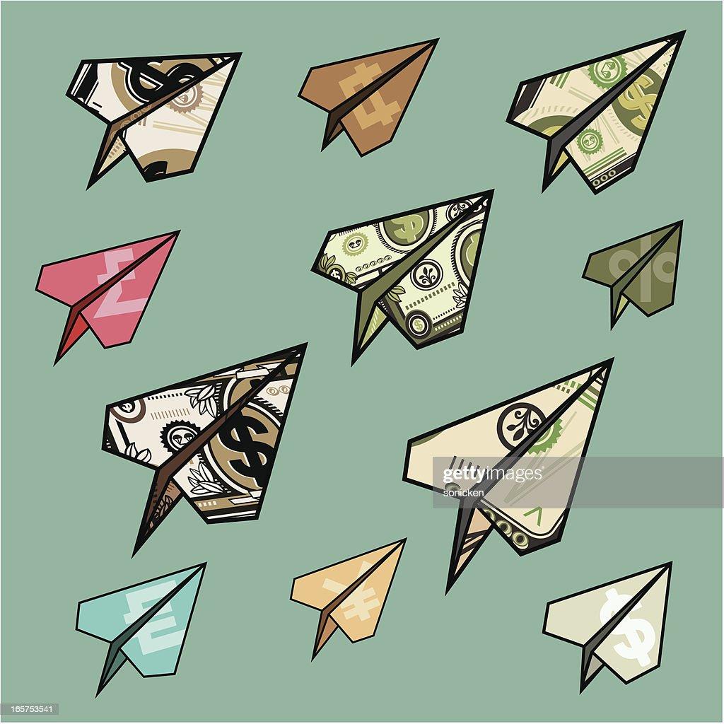 Voando dinheiro aviões : Ilustração