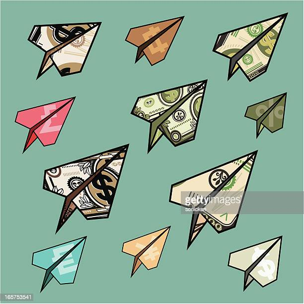 flying money planes - money down the drain stock illustrations, clip art, cartoons, & icons