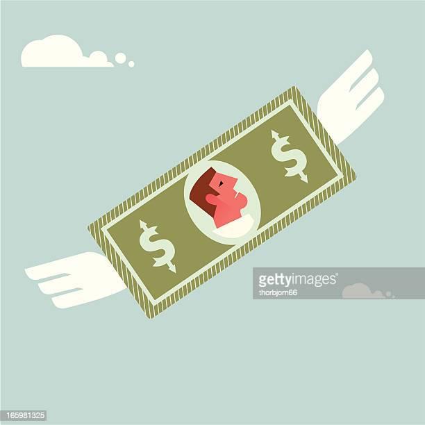 flying money - money to burn stock illustrations, clip art, cartoons, & icons