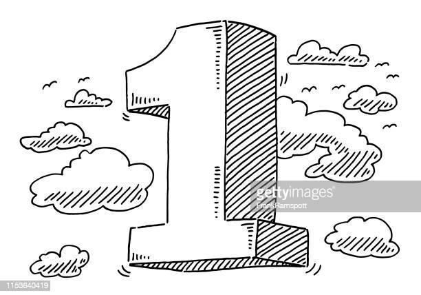 fliegende nummer 1 in der luftzeichnung - einzelner gegenstand stock-grafiken, -clipart, -cartoons und -symbole