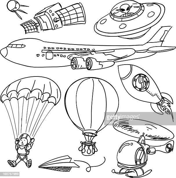 illustrations, cliparts, dessins animés et icônes de flying objets de collection en noir et blanc - saut en parachute