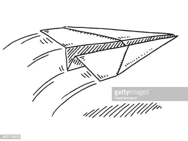 Paper Airplane In Flight Drawing Premium Stock Illustrations