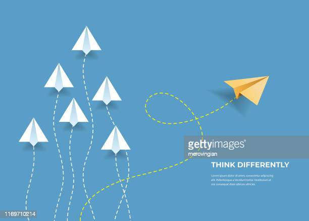flying paper airplanes. think differently, leadership, trends, creative solution and unique way concept. be different. - business strategy stock illustrations