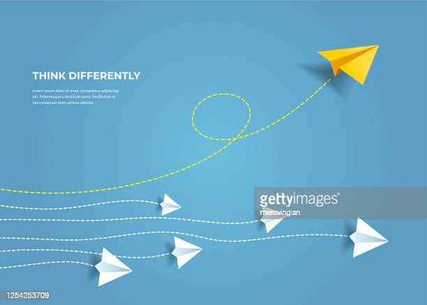 flying paper airplanes. think differently, leadership, trends, creative solution and unique way concept. be different. - paper airplane stock illustrations
