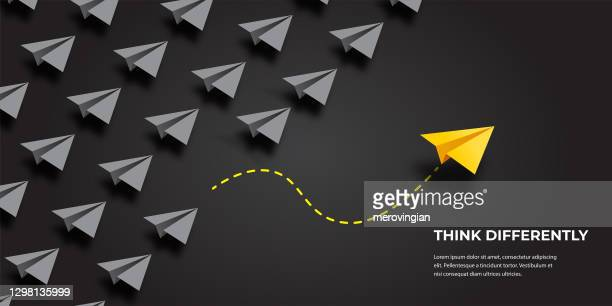 flying paper airplanes. think differently, leadership, trends, creative solution and unique way concept. be different. - pbs stock illustrations