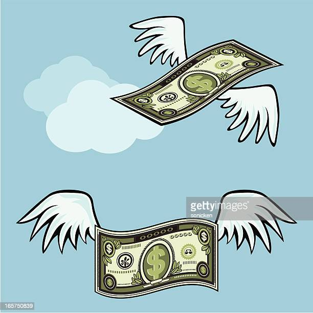 flying paper money - money out the window stock illustrations, clip art, cartoons, & icons