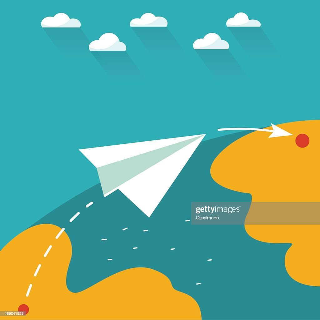 Flying paper plane on the sky. Travel and e-mail concept
