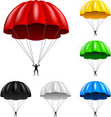 Flying parachute isolated on white vector