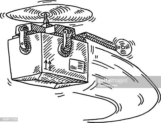 Flying Parcel Delivery Helicopter Drawing