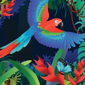 flying parrot and heliconia