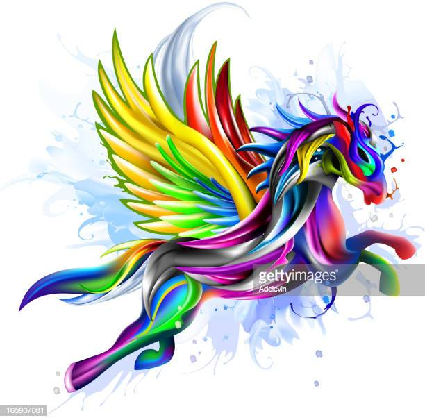flying pegasus concept artwork - pegasus stock illustrations, clip art, cartoons, & icons