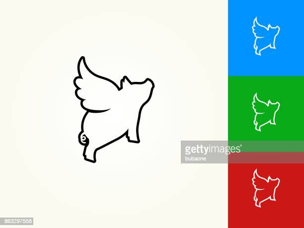 flying pig black stroke linear icon - pig stock illustrations