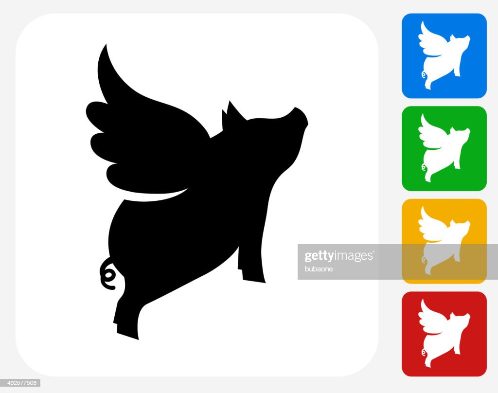 Vector Illustration Web Designs: Flying Pig Icon Flat Graphic Design Vector Art