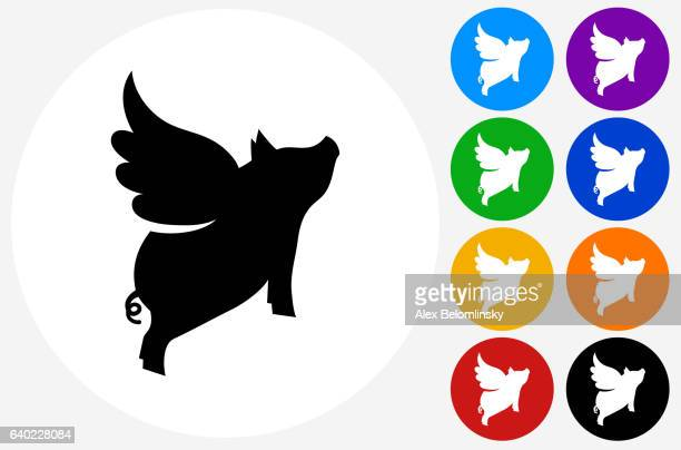 Flying Pig Icon on Flat Color Circle Buttons