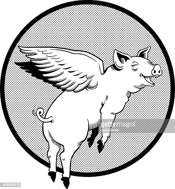 Flying Pig in Black and White