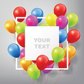 Flying Realistic Colorful Balloons, square white frame, celebrate concept