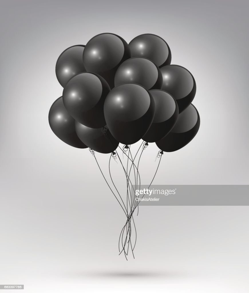 Flying Realistic Glossy black Balloons on white background, vector illustration