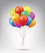 Flying Realistic Glossy Colorful Balloons, vector
