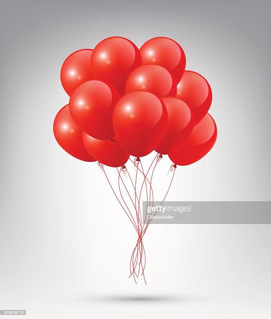 Flying Realistic Glossy Red Balloons on white background