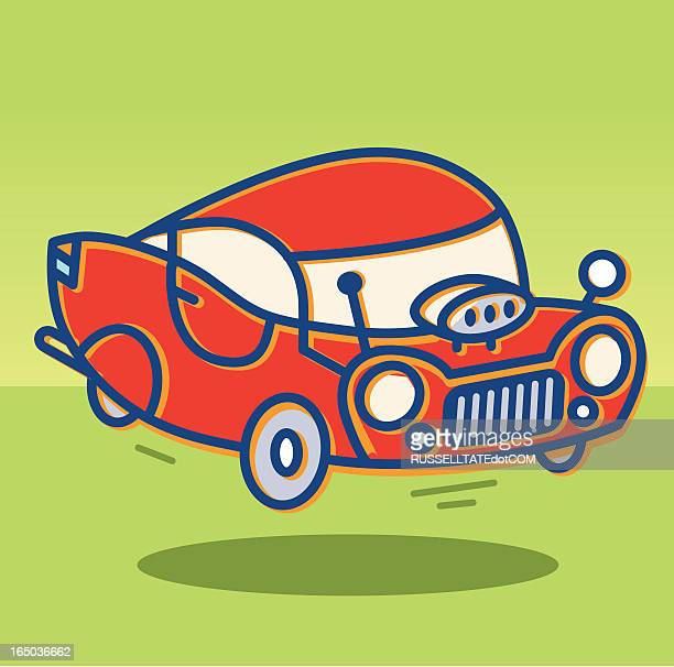 flying red car - low rider stock illustrations