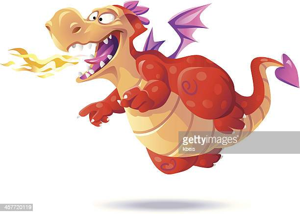 flying red dragon - dragon stock illustrations