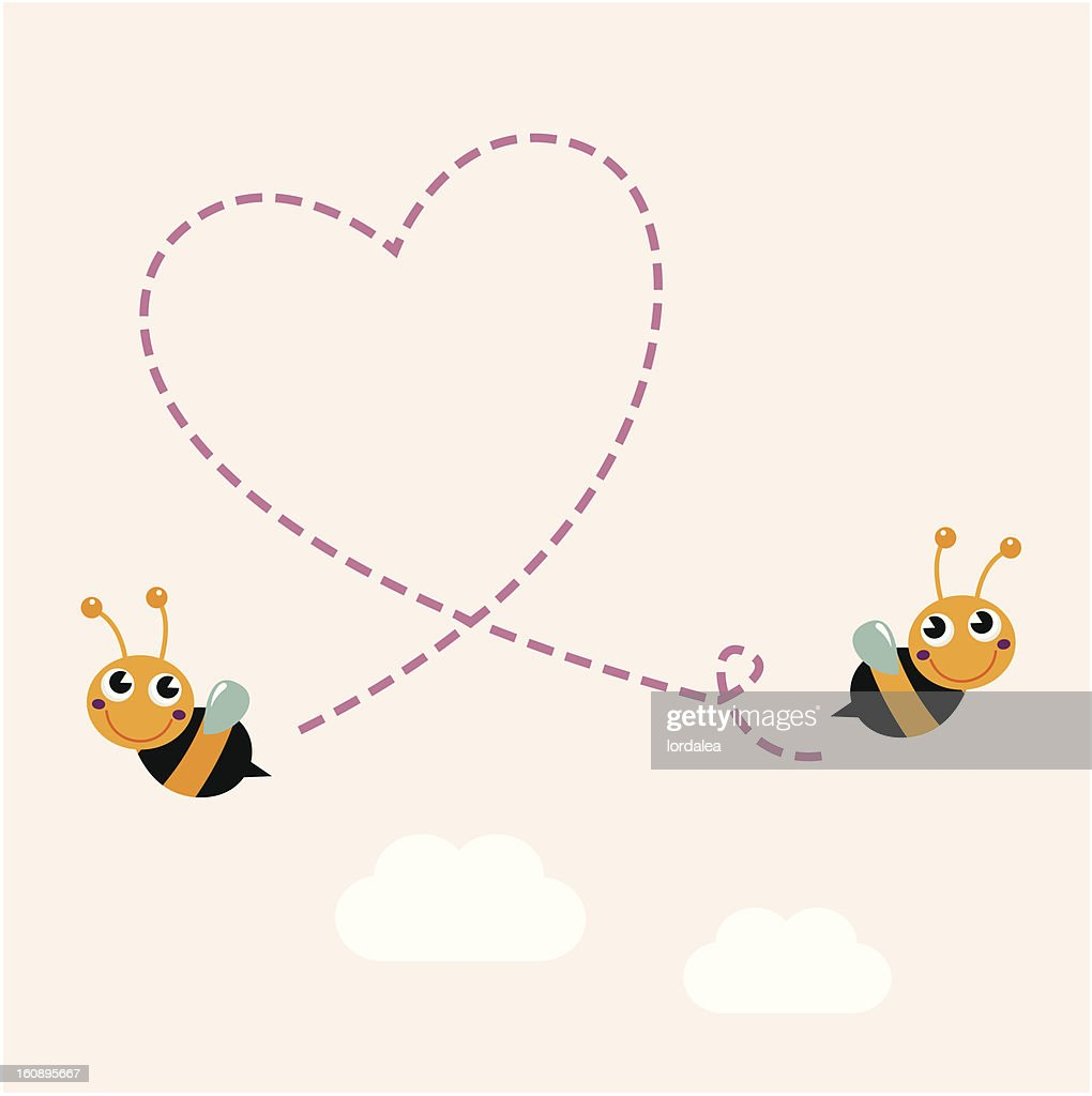 Flying retro bees making big love heart in the air
