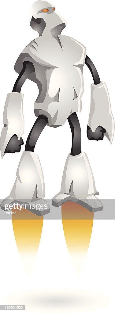 Flying Robot Like A Superhero Stock Illustration - Getty Images