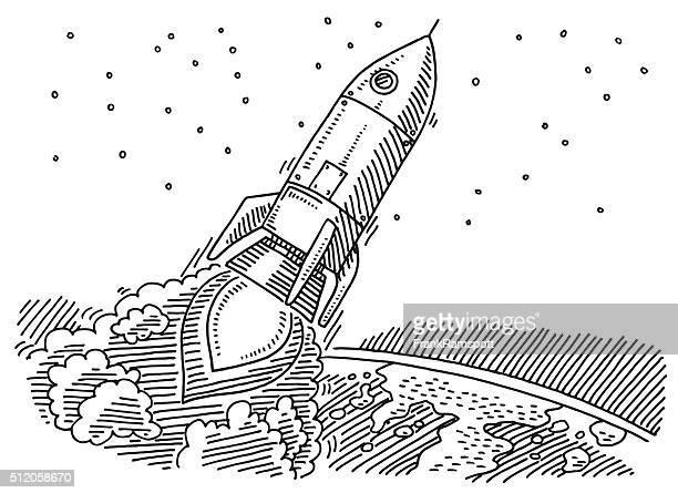 fliegenden rakete zu planet erde abbildung - frankramspott stock-grafiken, -clipart, -cartoons und -symbole