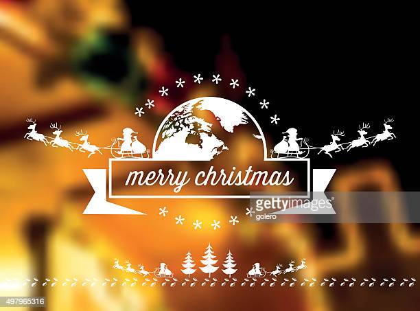 flying santa claus vector ornament on blurred golden illuminated background