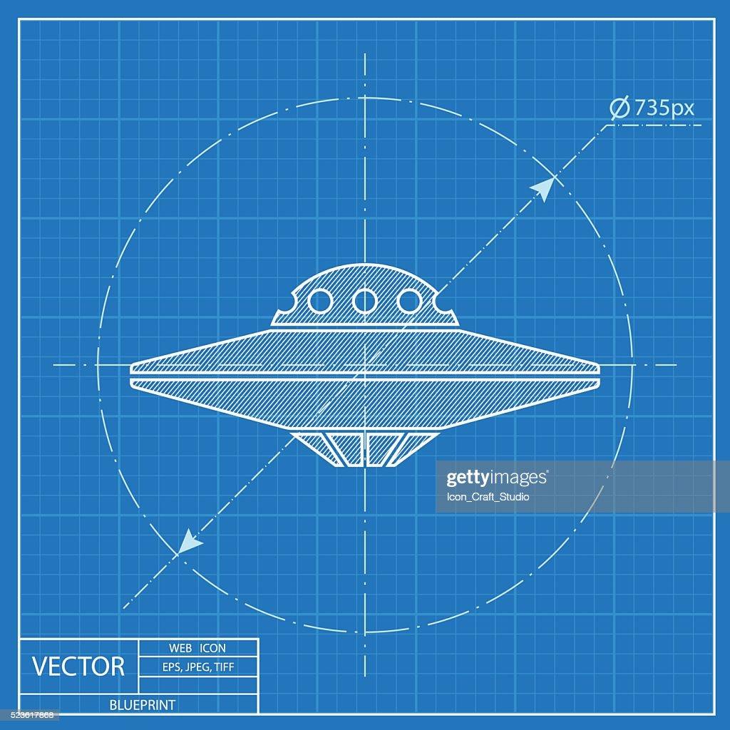 UFO Flying Saucer Icon. Blueprint style
