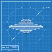 UFO Flying Saucer Icon. Blueprint style