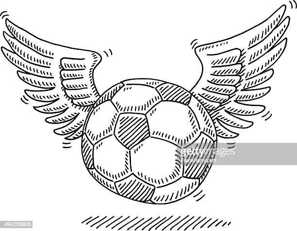 ilustraciones, imágenes clip art, dibujos animados e iconos de stock de flying pelota de fútbol de estar wings - alas de angel