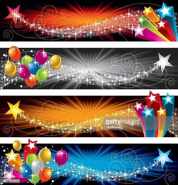 flying star and balloon - carnival celebration event stock illustrations, clip art, cartoons, & icons
