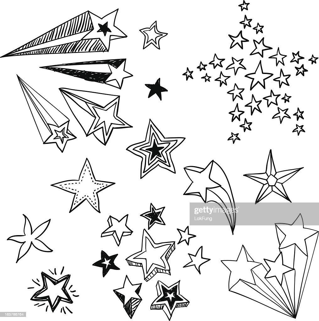 Flying Stars in black and white : stock illustration