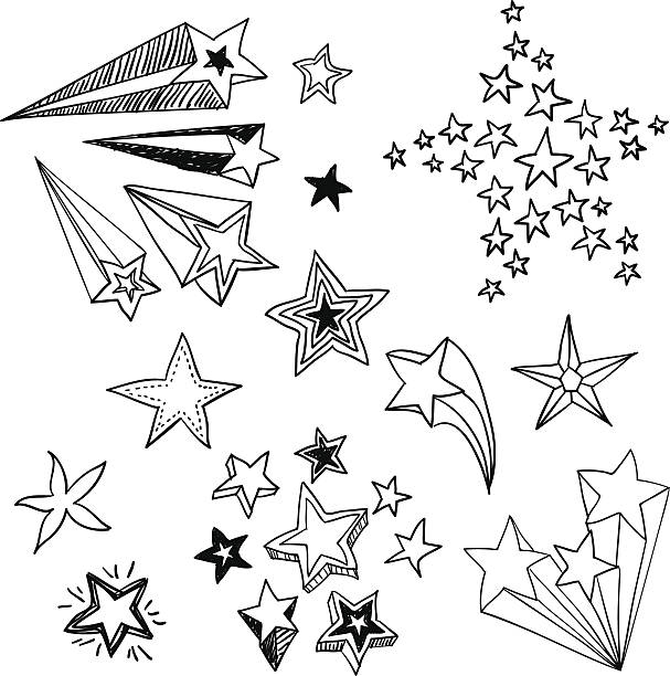flying stars in black and white - doodle stock illustrations