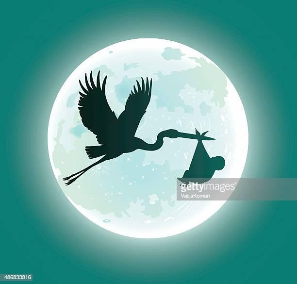 ilustrações de stock, clip art, desenhos animados e ícones de de cegonha a voar deliveres bebé no luar-silhueta - bebe chegando