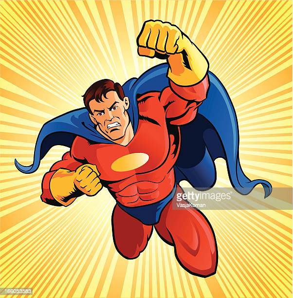 flying super hero - superhero stock illustrations
