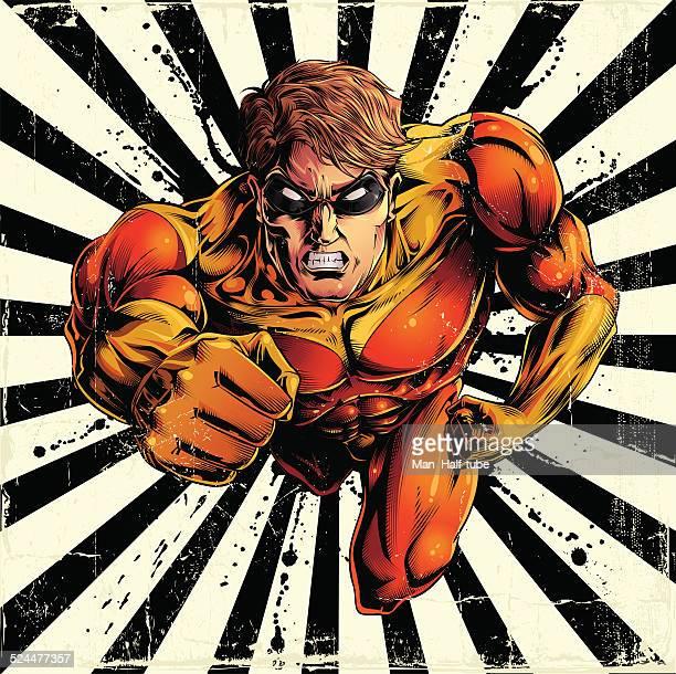 flying super hero - revenge stock illustrations