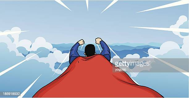 Flying Superhero Rear View