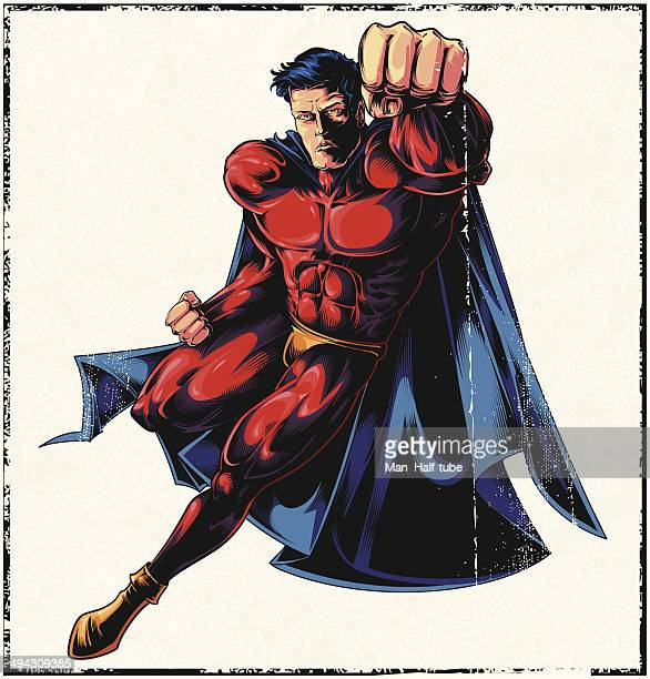 flying superhero - revenge stock illustrations