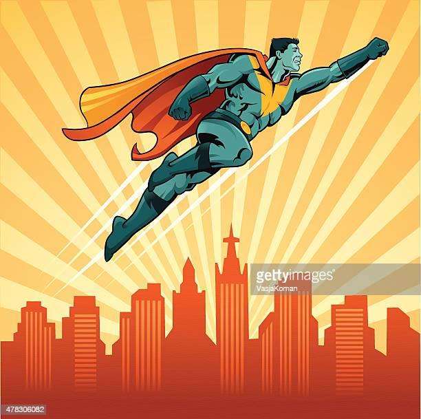 フライングスーパーヒーローの街並みを背景
