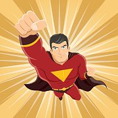 Flying Superhero with Clenched Fist Ready to Fight