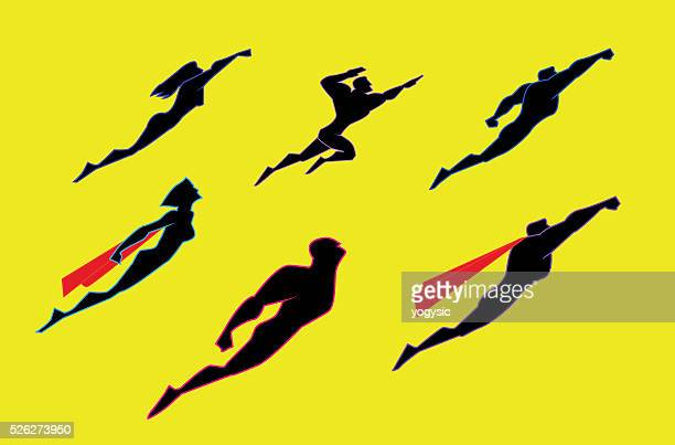 flying superheroes silhouette set - flying stock illustrations