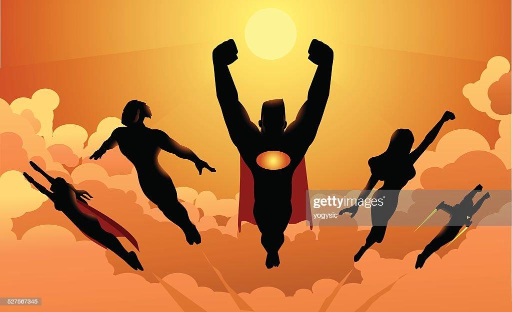 Flying Team of Superheroes Silhouette