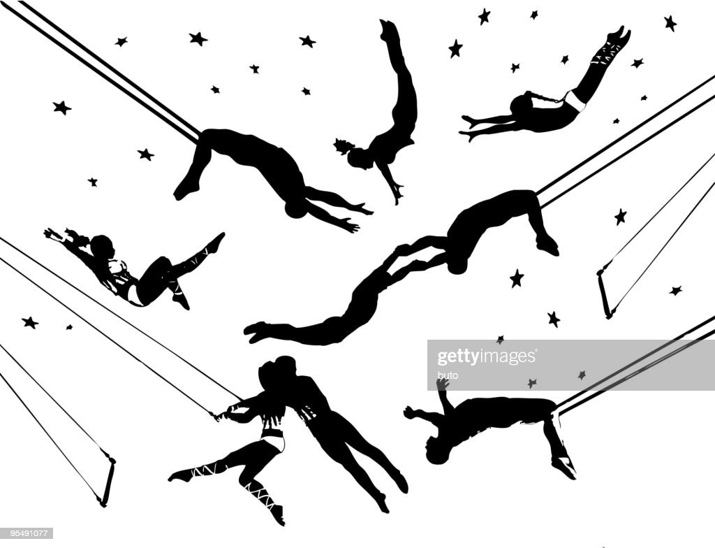 Flying trapeze circus acrobats