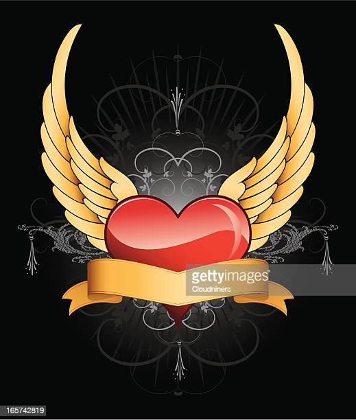 Asa voadora de tatuagem de coração desenho