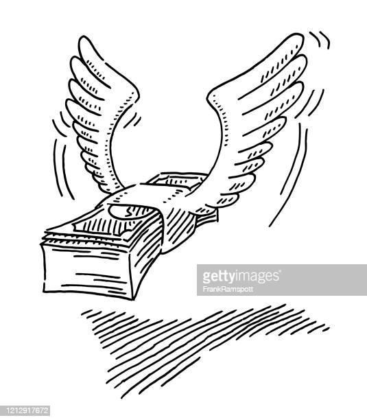 ilustraciones, imágenes clip art, dibujos animados e iconos de stock de flying wings wad of banknotes drawing - fajo de billetes