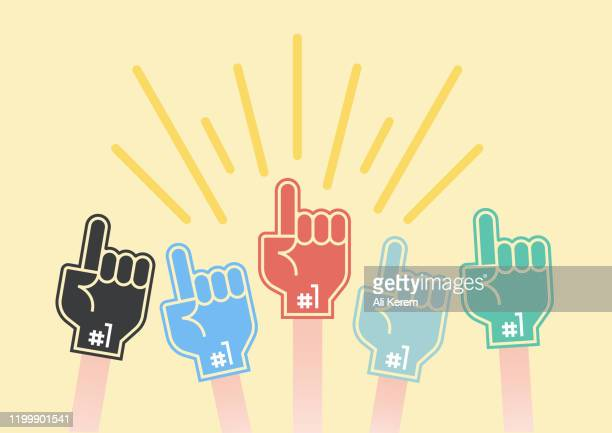 foam fan finger design - football league stock illustrations